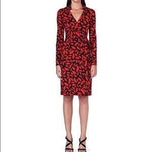 DVF Black and Red Wrap Kiss Cocktail Dress